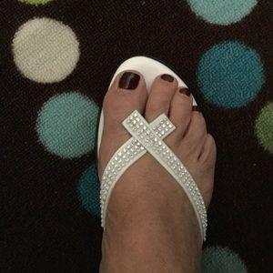 White Wedge Sandals  - Never Worn - Sz 10